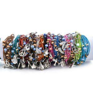 15 Multicolor Bead Friendship Bracelets wth Charms